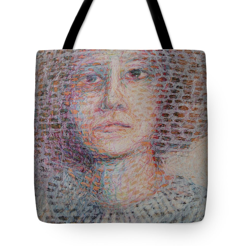 Abstract Modern Outsider Raw Folk Face Mouth Smile Person Eyes Portrait Woman Female Tote Bag featuring the painting Untitled by Nancy Mauerman