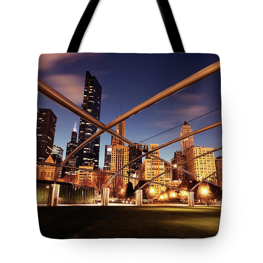 Downtown District Tote Bag featuring the photograph Usa, Illinois, Chicago, Cityscape by Henryk Sadura