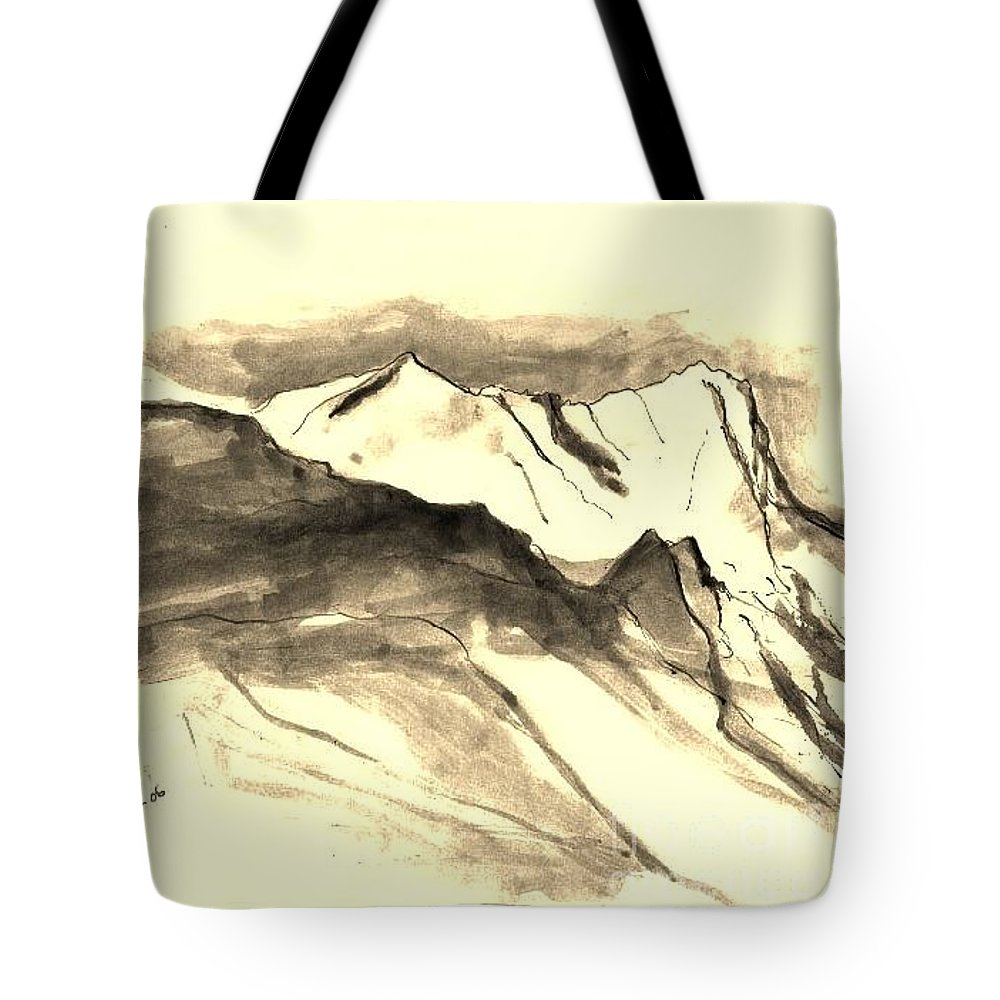 Nature Tote Bag featuring the drawing View by Karina Plachetka