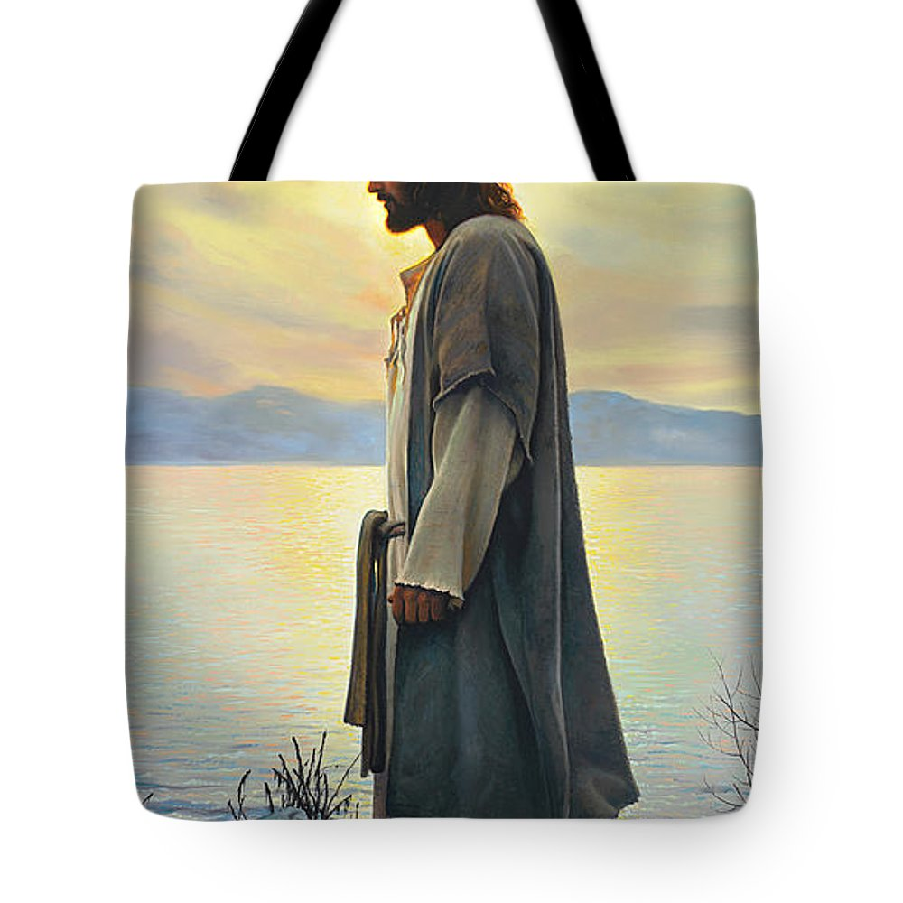 Jesus Tote Bag featuring the painting Walk With Me by Greg Olsen