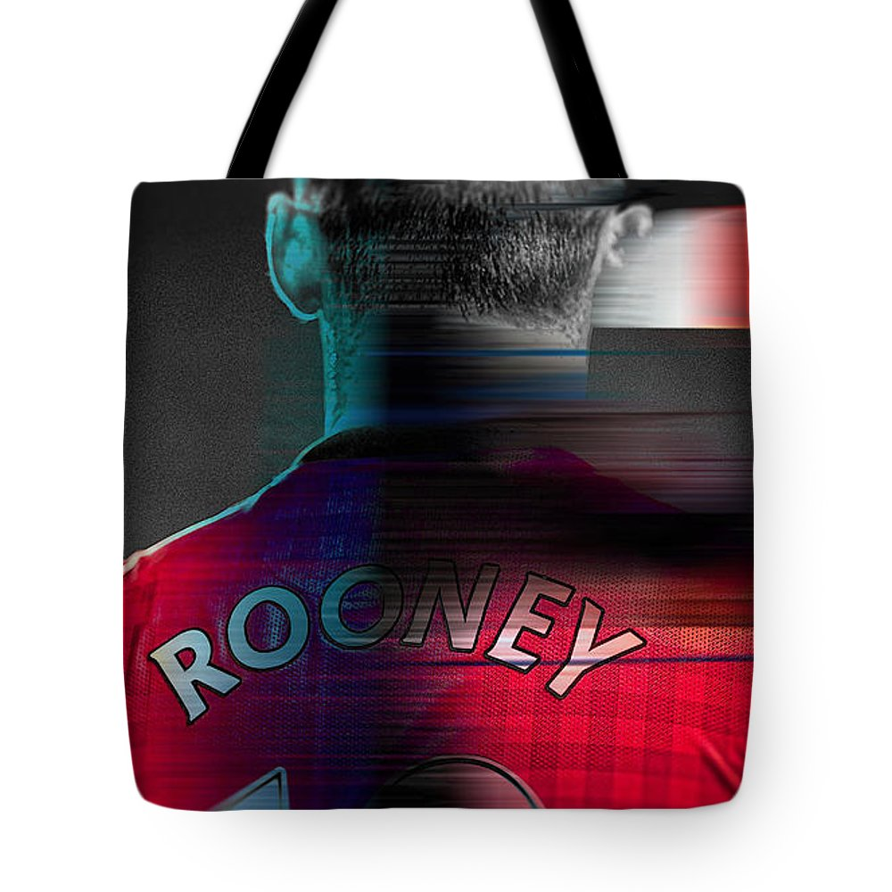 Wayne Rooney Paintings Tote Bag featuring the mixed media Wayne Rooney by Marvin Blaine