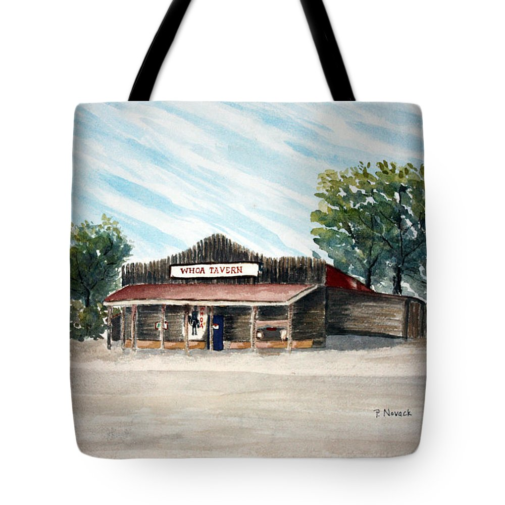 Travern Tote Bag featuring the painting Whoa Tavern by Patricia Novack