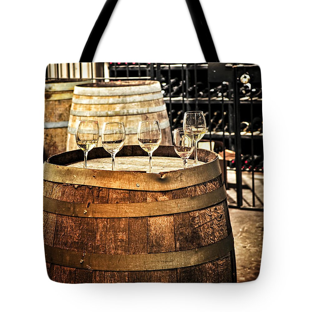 Wine Tote Bag featuring the photograph Wine Glasses And Barrels by Elena Elisseeva