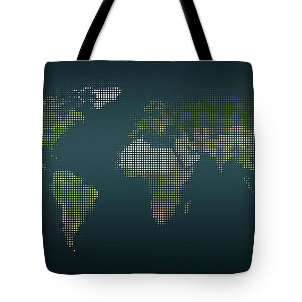 Panoramic Tote Bag featuring the digital art World Map In Dots Against An Abstract by Ralf Hiemisch