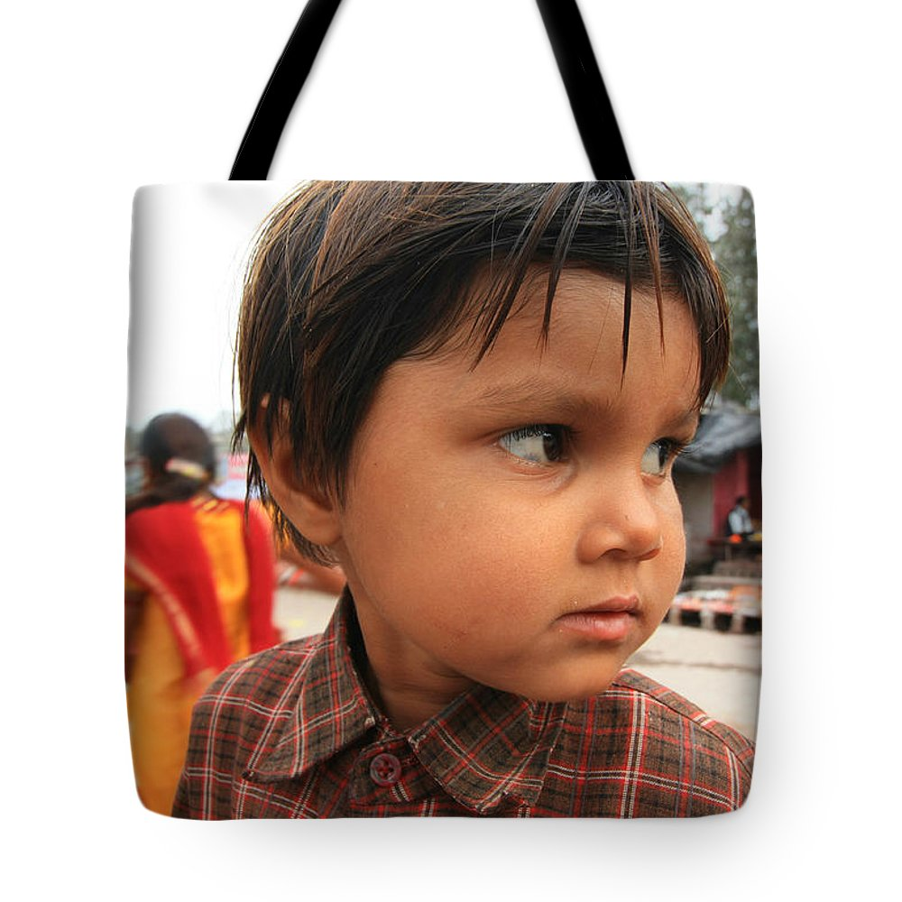 Street Photography Tote Bag featuring the photograph Young Boy Orchha by Amanda Stadther