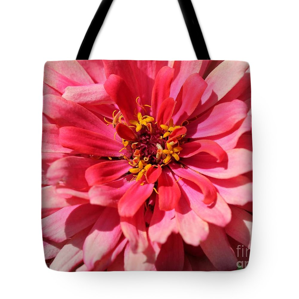 Mccombie Tote Bag featuring the photograph Zinnia From The Whirlygig Mix by J McCombie