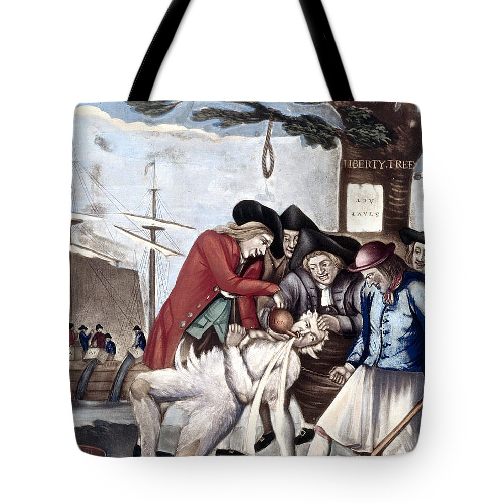 1773 Tote Bag featuring the photograph Boston Tea Party, 1773 by Granger