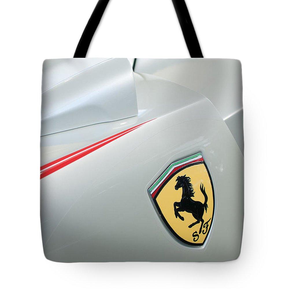 2005 Ferrari Fxx Evoluzione Emblem Tote Bag featuring the photograph 2005 Ferrari Fxx Evoluzione Emblem by Jill Reger