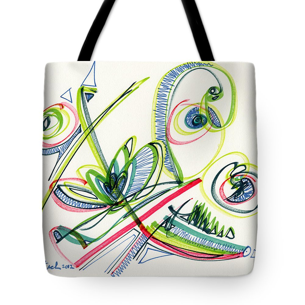 Abstract Tote Bag featuring the drawing 2012 Drawing #36 by Lynne Taetzsch
