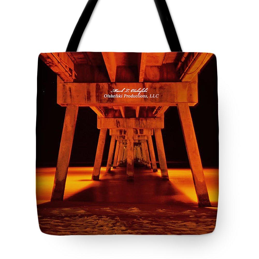 Okalossa Island Pier Tote Bag featuring the photograph 2014 02 06 01 Okalossa Island Pier 0213 by Mark Olshefski