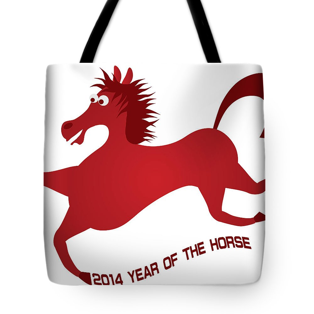 2014 Tote Bag featuring the photograph 2014 Abstract Red Chinese Horse Illustration by Jit Lim