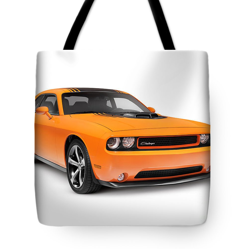 Dodge Tote Bag featuring the photograph 2014 Dodge Challenger Muscle Car by Oleksiy Maksymenko
