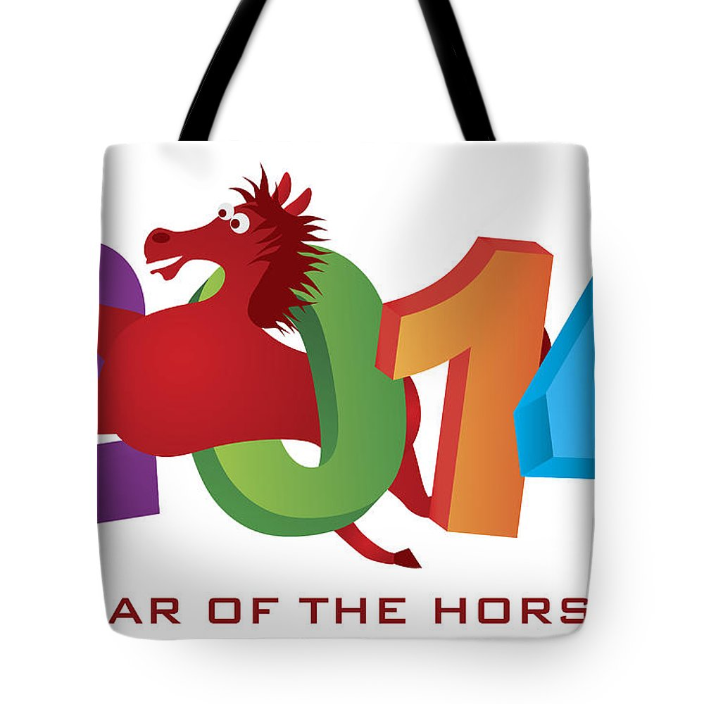 2014 Tote Bag featuring the photograph 2014 Horse Leaping Over Numerals Isolated by Jit Lim