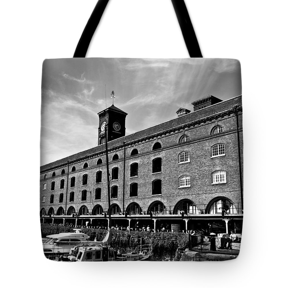 River Thames Tote Bag featuring the photograph St Katherines Dock London by David Pyatt