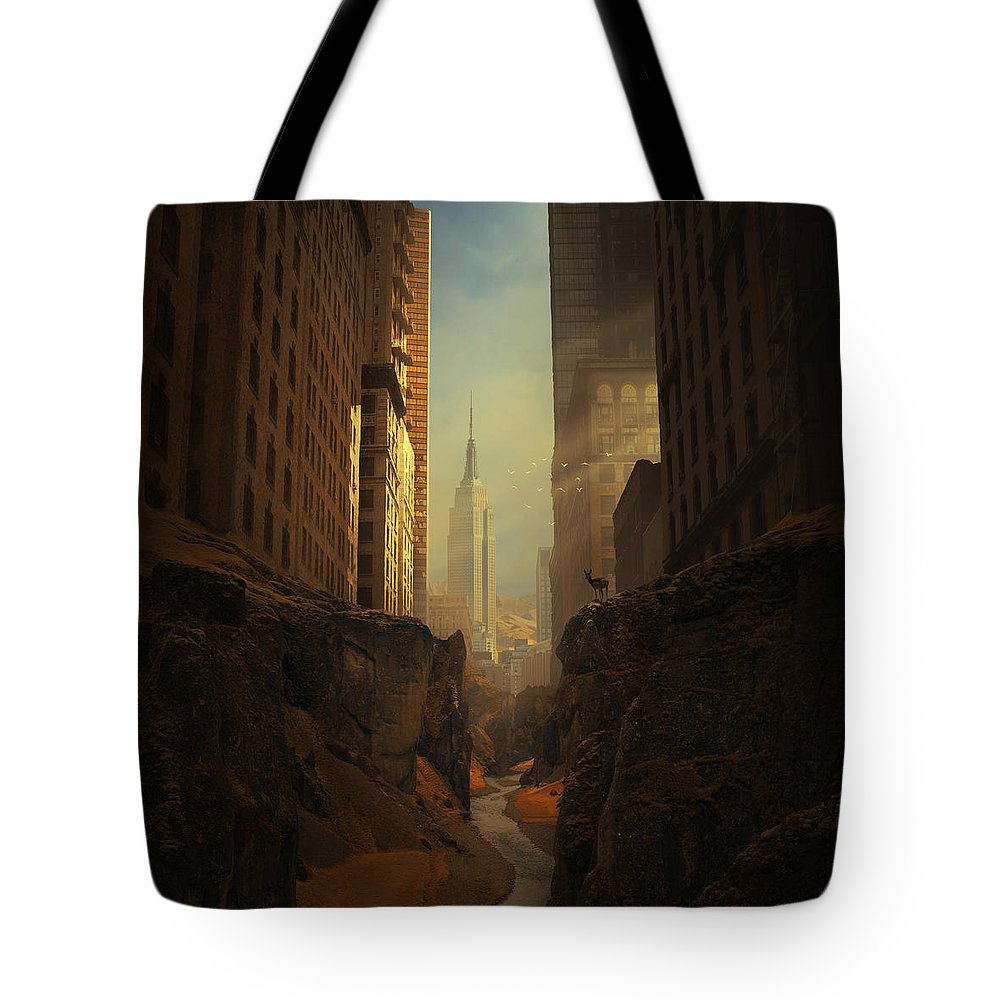 City Ruins Apocalypse Buildings Sun Animal Sunbeams Abandoned Ny Landscape Photomontage Rocks Loneliness Creek Walls Birds Sciencefiction Fantasy Newyork Warm Shadows Nature Architecture Photomontage Photomanipulation Tote Bag featuring the photograph 2146 by Michal Karcz