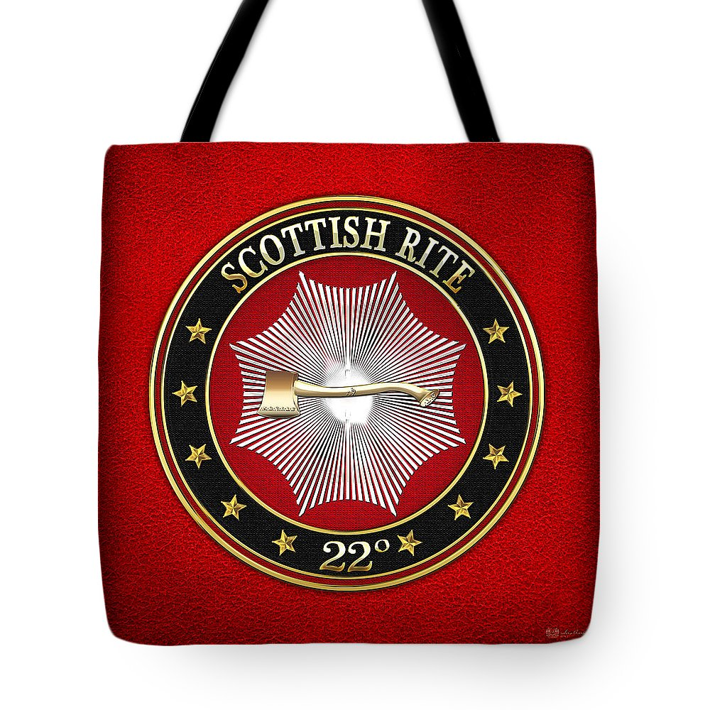 'scottish Rite' Collection By Serge Averbukh Tote Bag featuring the digital art 22nd Degree - Knight Of The Royal Axe Jewel On Red Leather by Serge Averbukh