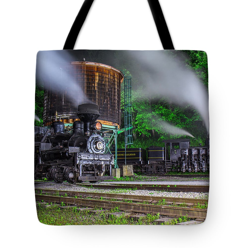 Trains Tote Bag featuring the photograph Cass Scenic Railroad by Mary Almond