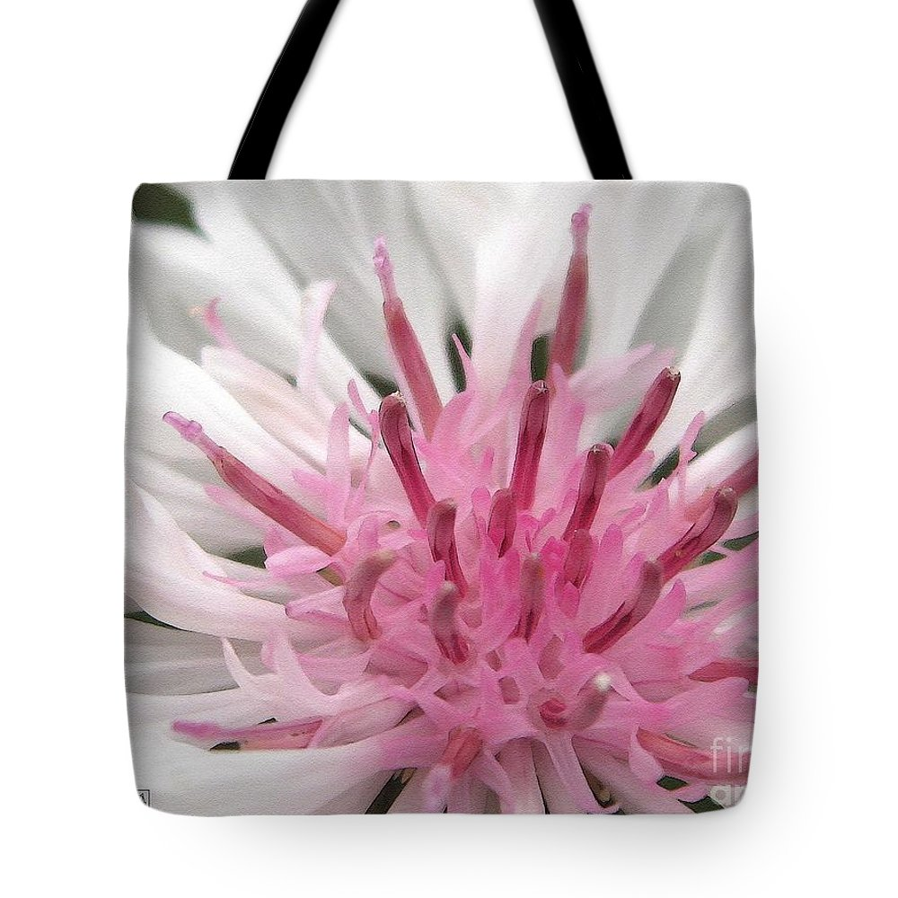 Bachelor Button Tote Bag featuring the painting Bachelor Button From The Frosted Queen Mix by J McCombie