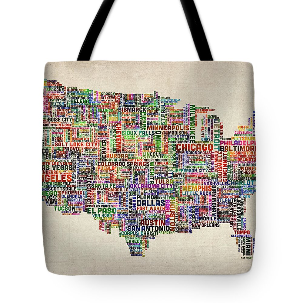 United States Map Tote Bag featuring the digital art United States Typography Text Map by Michael Tompsett