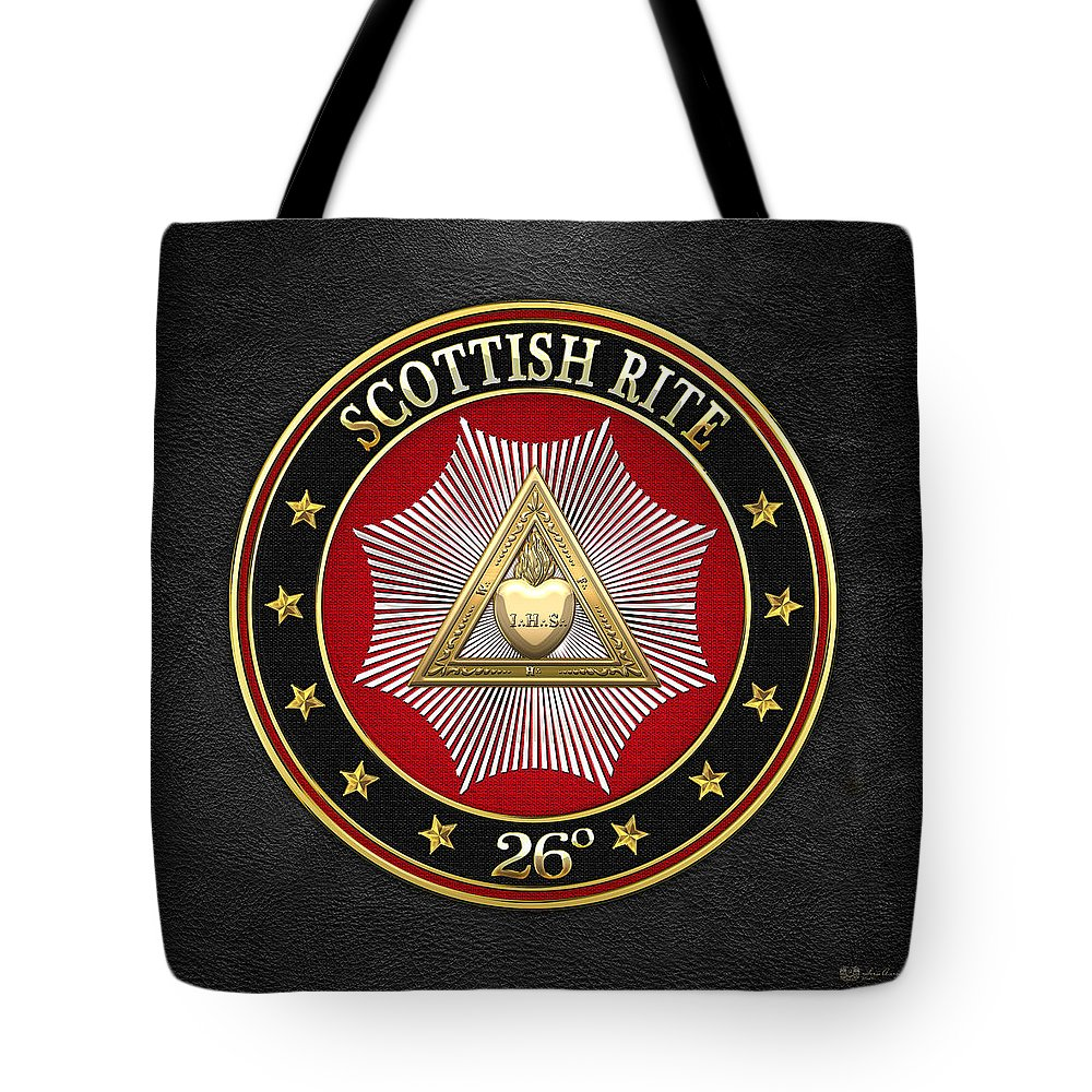 'scottish Rite' Collection By Serge Averbukh Tote Bag featuring the digital art 26th Degree - Prince Of Mercy Or Scottish Trinitarian Jewel On Black Leather by Serge Averbukh