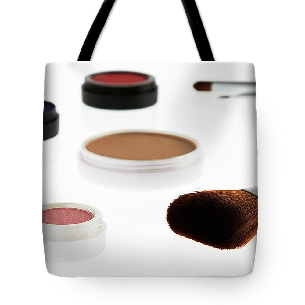 White Background Tote Bag featuring the photograph Still Life Of Beauty Products by Stephen Smith
