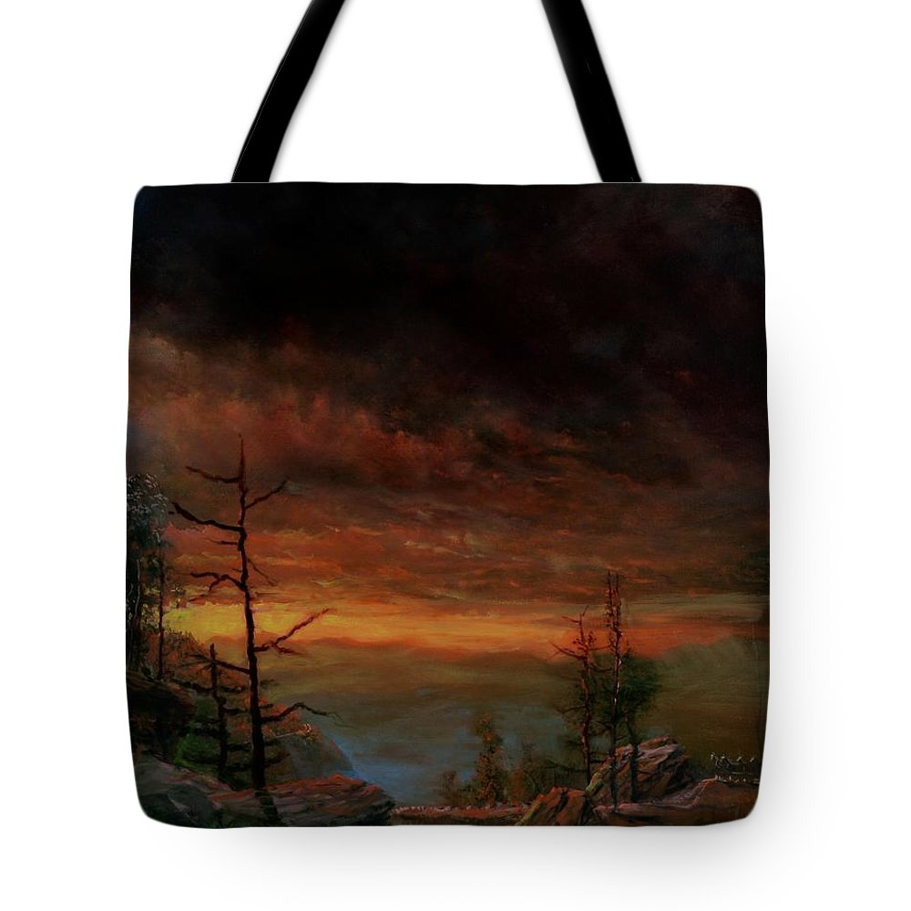 Landscape Tote Bag featuring the painting Title Unknown by Edward David Lambert