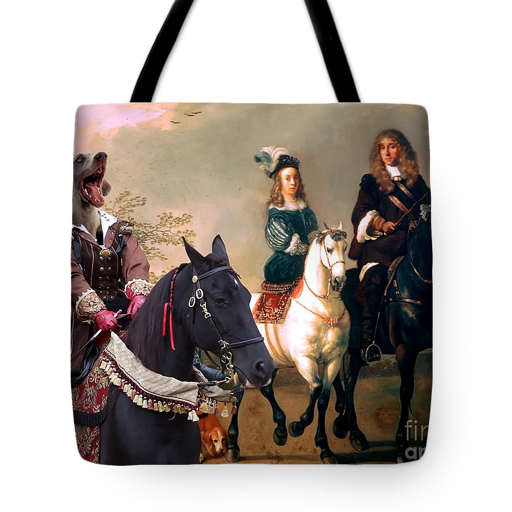 Weimaraner Tote Bag featuring the painting Weimaraner Art Canvas Print by Sandra Sij