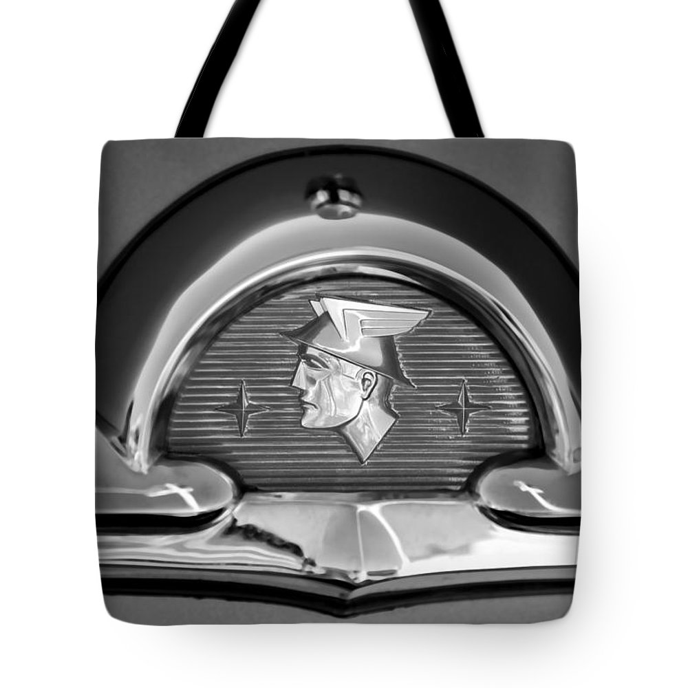 1953 Mercury Monterey Emblem Tote Bag featuring the photograph 1953 Mercury Monterey Emblem by Jill Reger