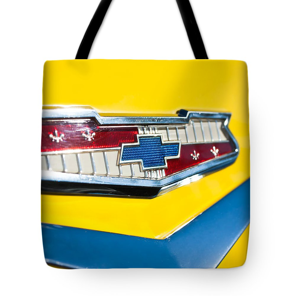 1956 Chevrolet Belair Emblem Tote Bag featuring the photograph 1956 Chevrolet Belair Emblem by Jill Reger