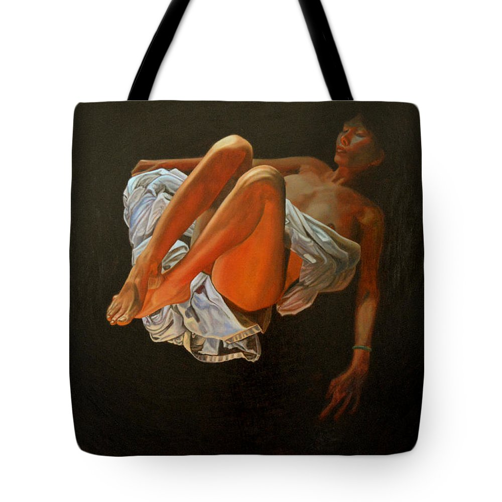 Oil-painting Tote Bag featuring the painting 3 30 Am by Thu Nguyen
