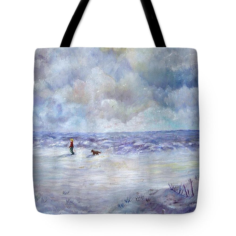 Ocean Tote Bag featuring the painting 34th St. Beach by Loretta Luglio