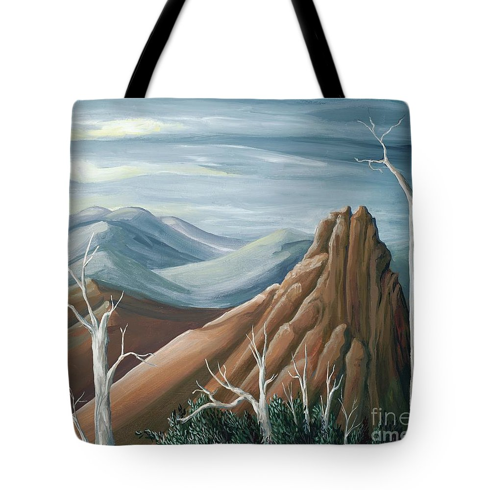 Nature Tote Bag featuring the painting Above The Tundra Line by Lucy Stamatinos