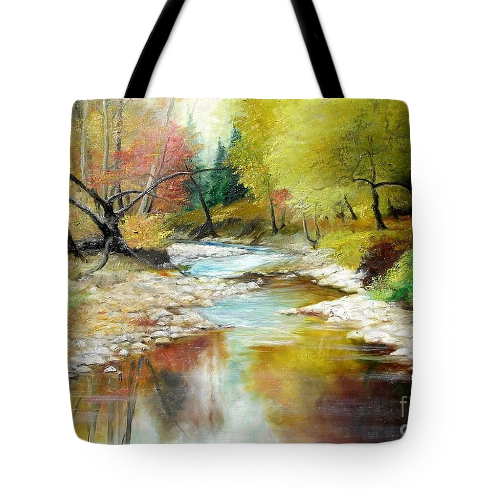 Tree Tote Bag featuring the painting Autumn by Sorin Apostolescu