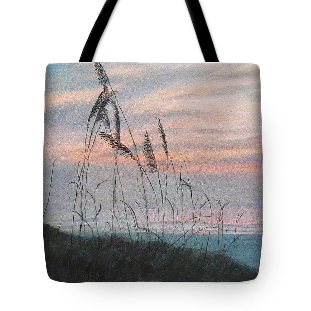 Beach Tote Bag featuring the painting Beach Morning View by Patty Weeks