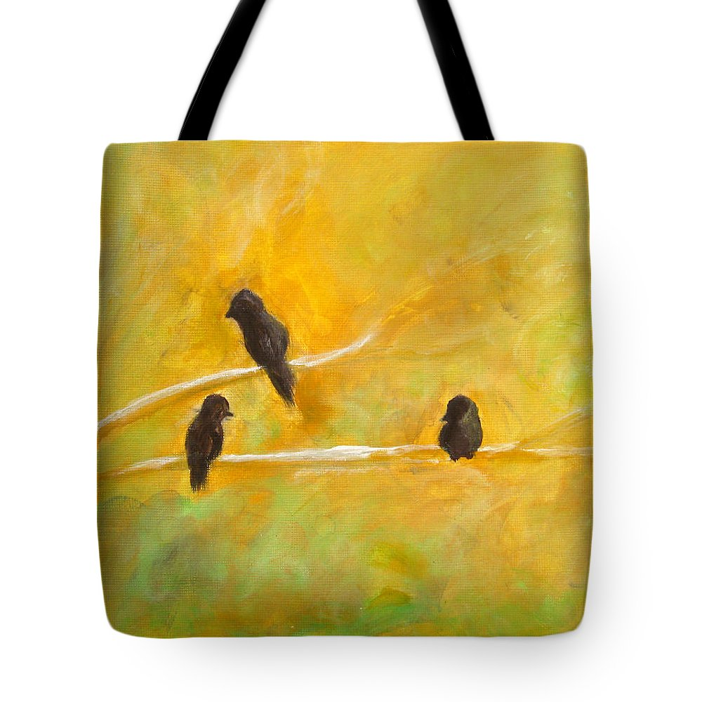 Birds Tote Bag featuring the painting 3 Birds by Alina Cristina Frent
