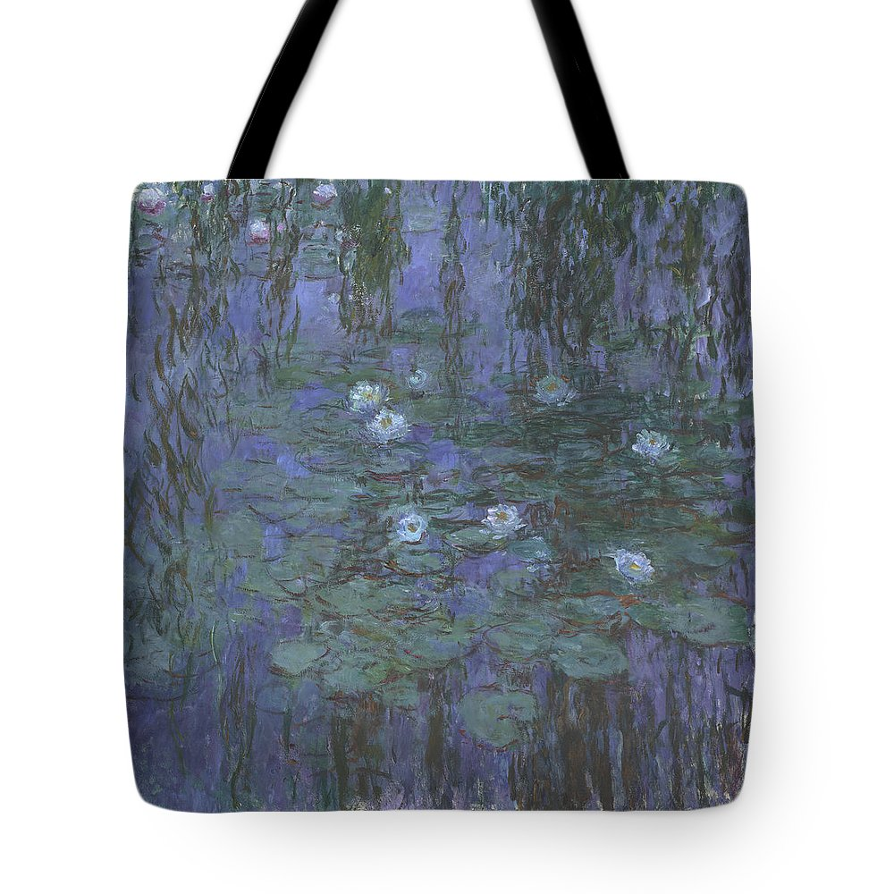 Claude Monet Tote Bag featuring the painting Blue Water Lilies by Claude Monet