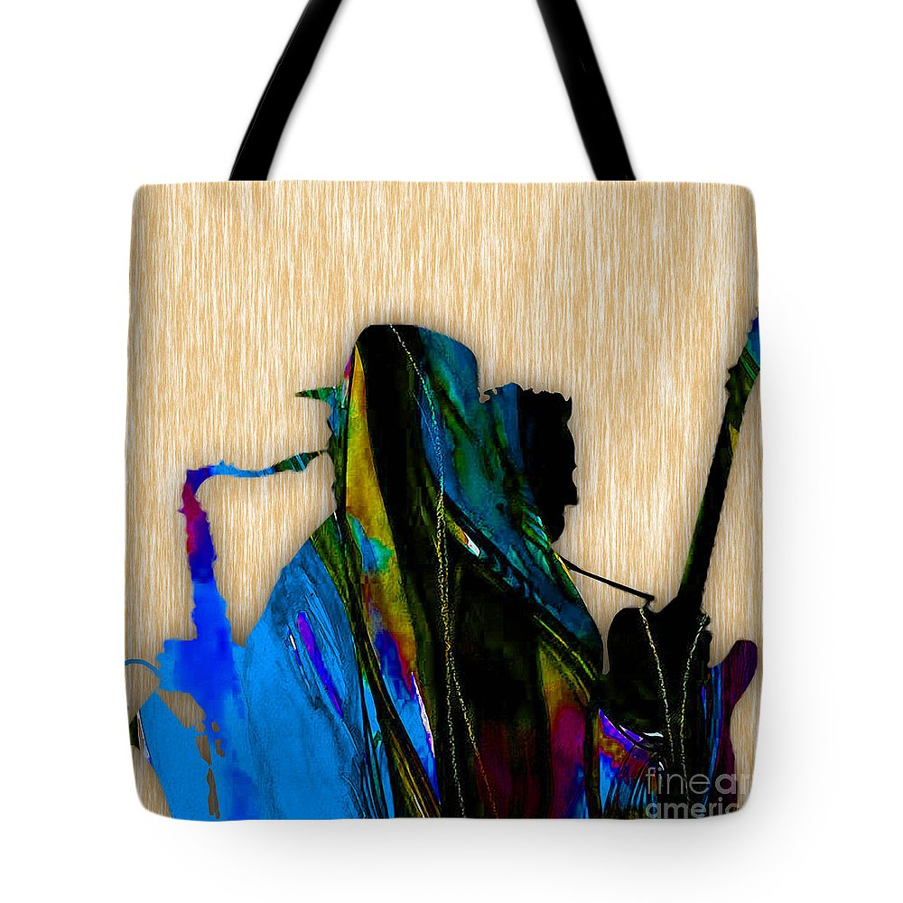 Bruce Springsteen Art Tote Bag featuring the mixed media Bruce Springsteen and Clarence Clemons by Marvin Blaine