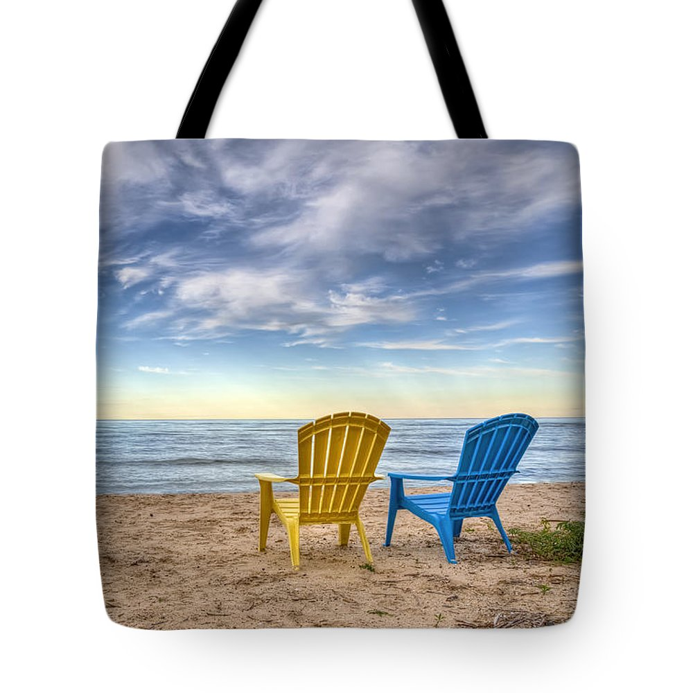Chairs Tote Bag featuring the photograph 3 Chairs by Scott Norris
