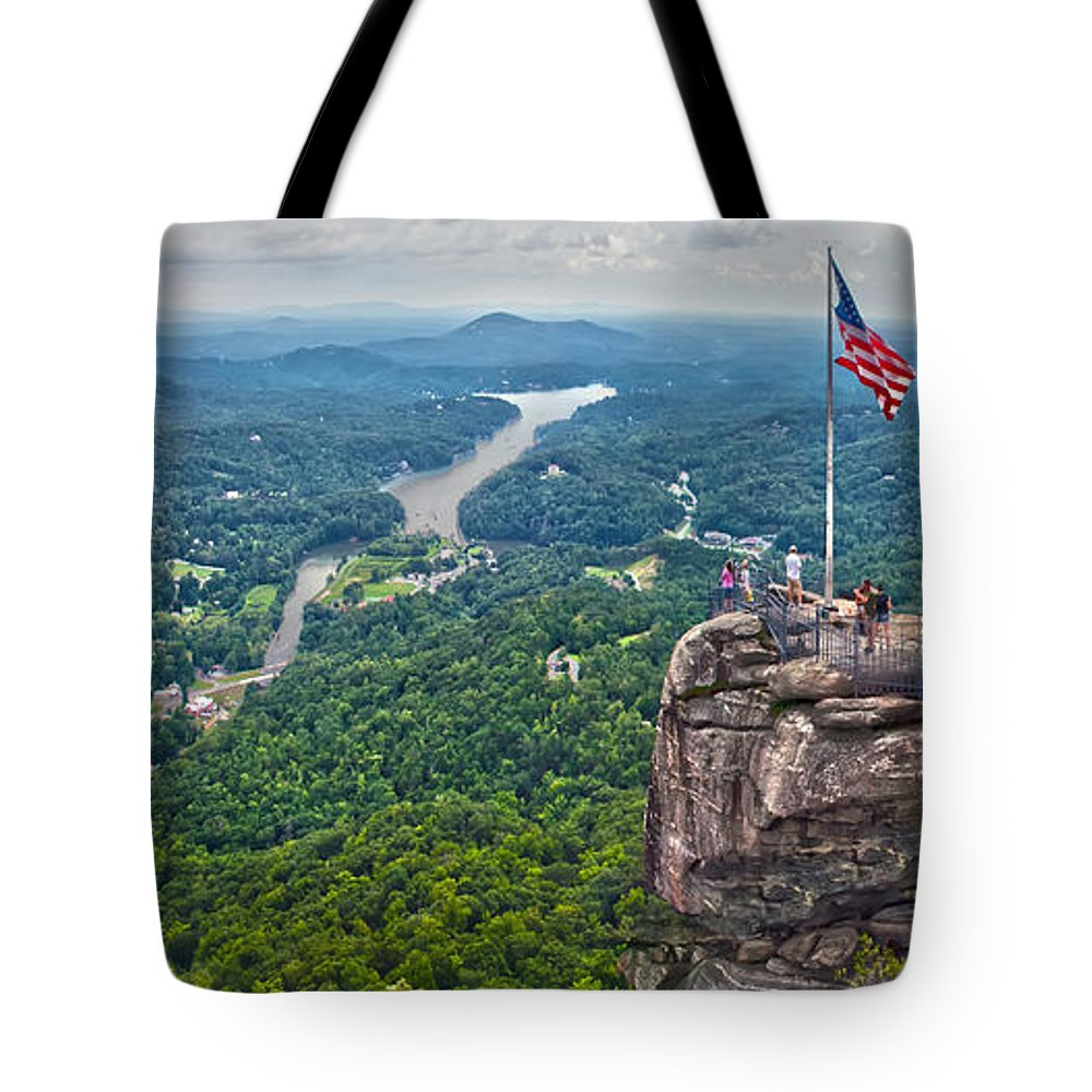 Colors Tote Bag featuring the photograph Chimney Rock At Lake Lure by Alex Grichenko