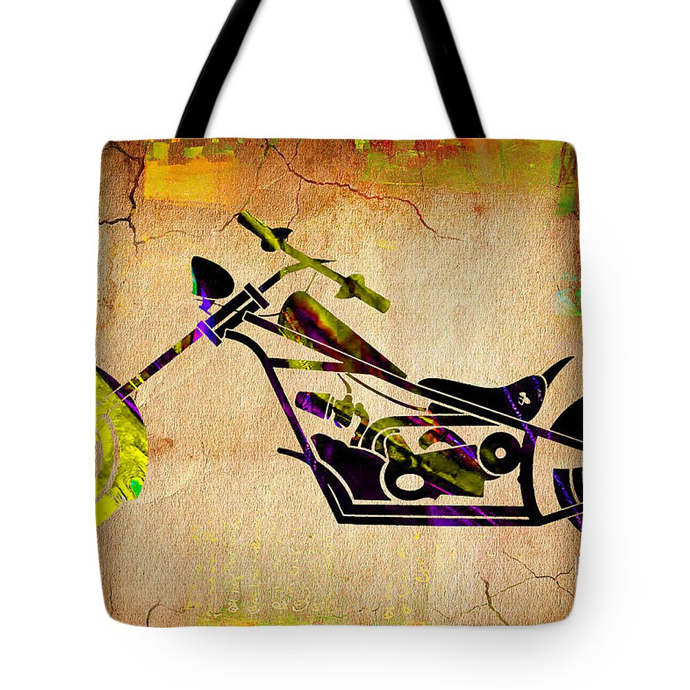 Motorcycle Tote Bag featuring the mixed media Chopper Art by Marvin Blaine
