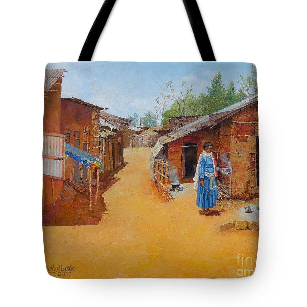 Cityscape Tote Bag featuring the painting Cityscape by Yoseph Abate