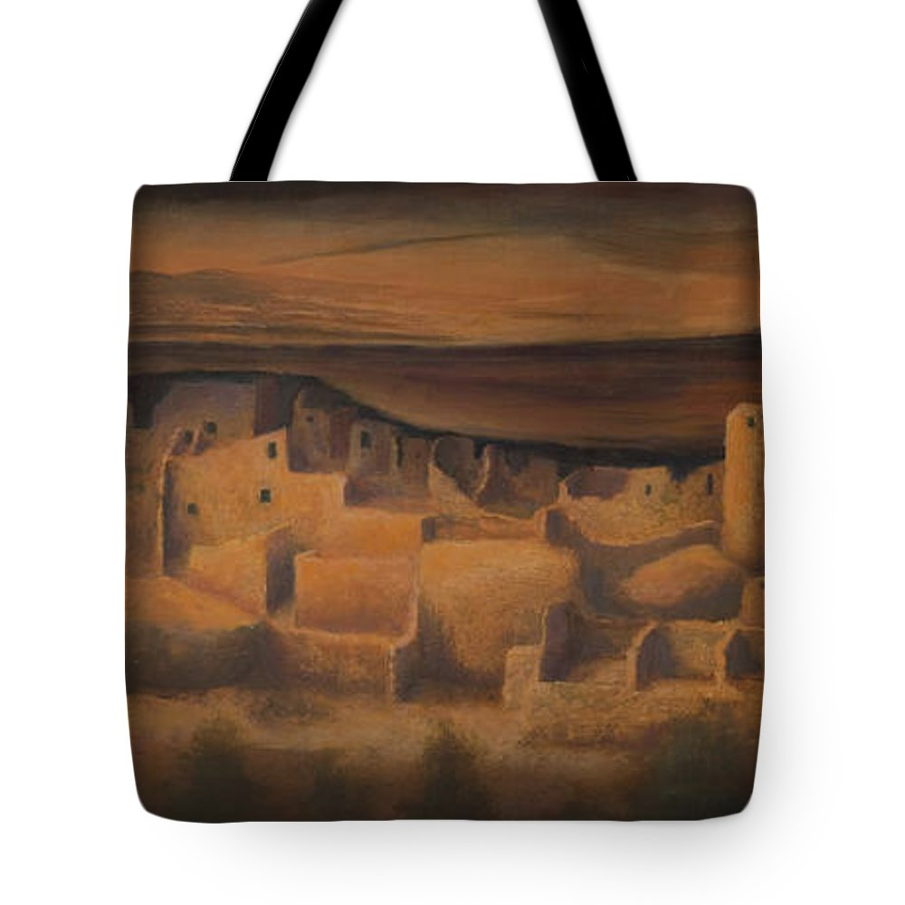 Mesa Verde Tote Bag featuring the painting Cliff Palace by Jerry McElroy