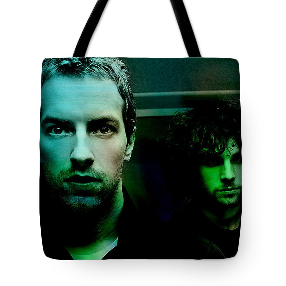 Coldplay Paintings Tote Bag featuring the mixed media Coldplay by Marvin Blaine