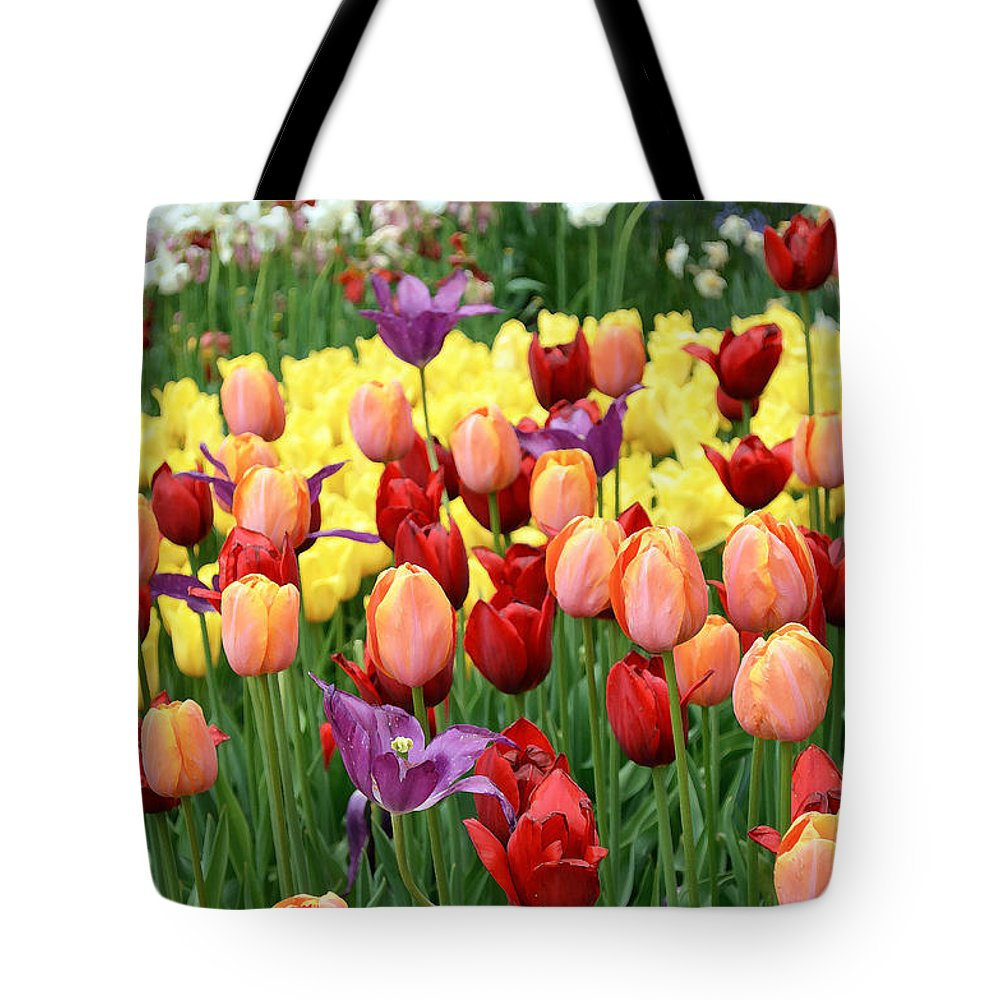 Nature Tote Bag featuring the digital art Colorful Tulips by Eva Kaufman