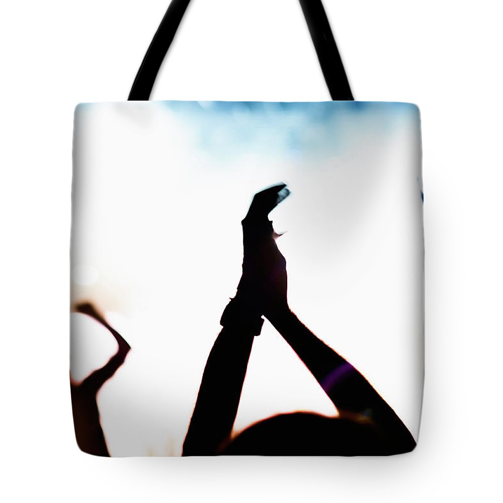 Rock Music Tote Bag featuring the photograph Concert Crowd by Alenpopov