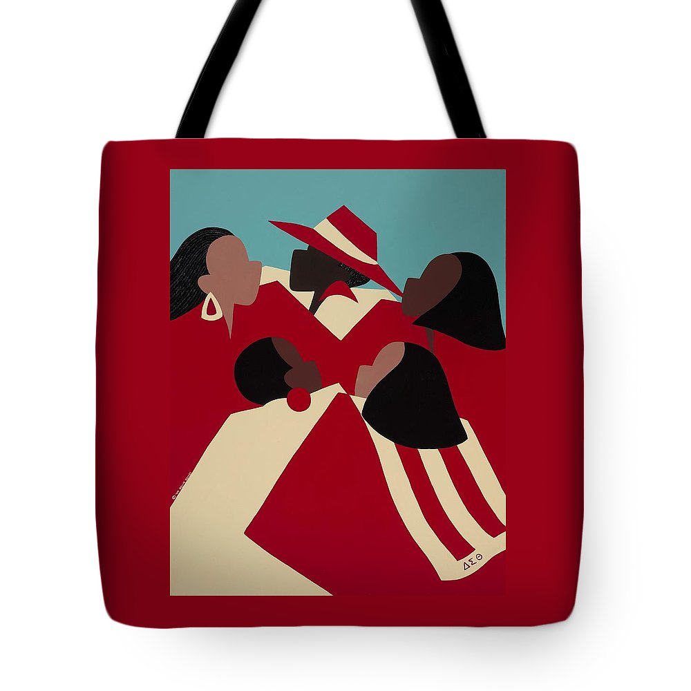 African American Tote Bag featuring the painting Crimson And Cream by Synthia SAINT JAMES