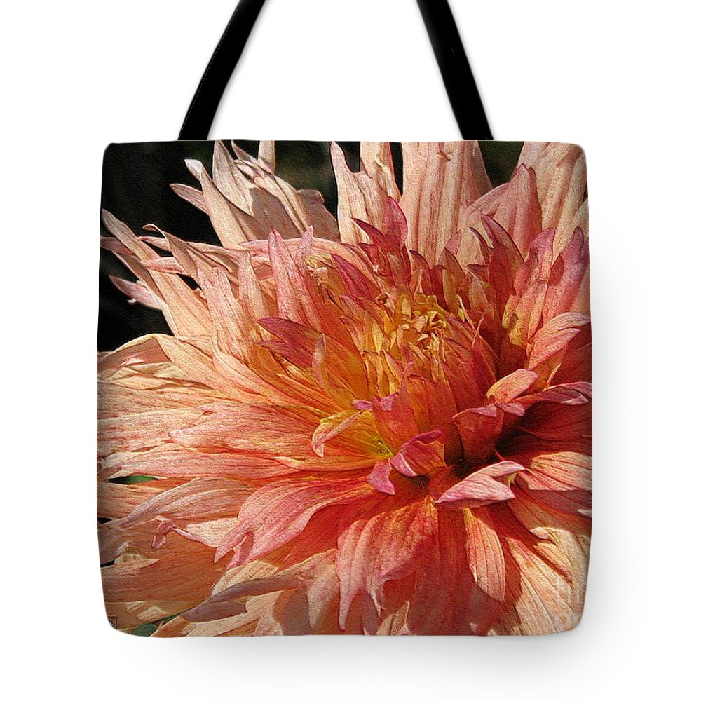 Dahlia Tote Bag featuring the digital art Dahlia Named Intrepid by J McCombie