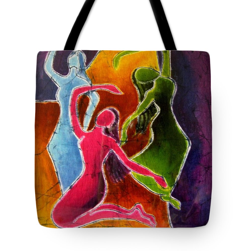 Dancers Tote Bag featuring the painting 3 Dancers by Yokami Arts