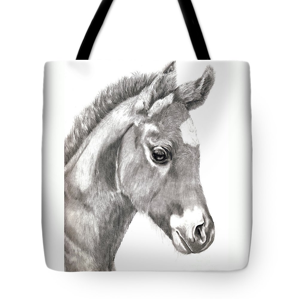 Colt Tote Bag featuring the drawing 3 Days Old by Sandy Campion