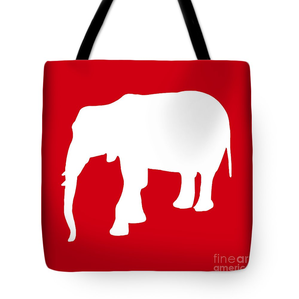 Graphic Art Tote Bag featuring the digital art Elephant In Red And White by Jackie Farnsworth